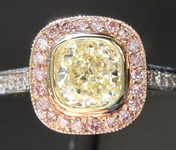 Yellow Diamond Ring: 1.05ct U-V SI1 Cushion Modified Brilliant Diamond Halo Ring GIA R5503