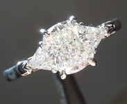 Colorless Diamond Ring: 1.02ct F VVS1 Cushion Cut Three Stone Diamond Ring GIA R5611