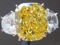 SOLD...Yellow Diamond Ring: 3.01ct Fancy Vivid Yellow SI2 Cushion Modified Brilliant GIA Rare Beauty R5638