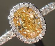 SOLD...Yellow Diamond Ring: 1.01ct Fancy Light Yellow VS1 Oval Shape Diamond GIA R5635