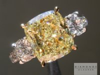 Fancy Yellow Diamond Ring: 3.80ct Fancy Yellow VS2 Cushion Cut GIA Great Color R5640