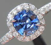 Sapphire Ring: 1.01ct Blue Cushion Cut Sapphire Diamond Halo Ring R5627