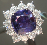 SOLD.....Sapphire Ring: 1.86ct Purple Cushion Cut Sapphire Bold Halo Ring R5596