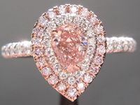 Pink Diamond Ring: .37ct Fancy Orangy Pink I1 Pear Shape GIA Double Halo R5614