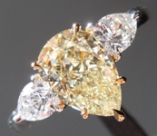 Yellow Diamond Ring: 1.51ct Fancy Light Yellow VS2 Pear Shape GIA Three Stone Ring R5608