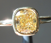 0.92ct Brownish Yellow SI1 Cushion Cut Diamond Ring R5663