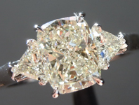Cushion Diamond Ring: 1.47ct L VS1 Cushion Modified Brilliant Three Stone Diamond Ring GIA R5684