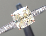 Yellow Diamond Ring: .73ct W-X Internally Flawless Cushion Modified Brilliant Diamond Ring GIA R5658