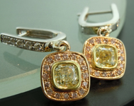 Yellow Diamond Earrings: 1.19cts Natural Light Yellow IF Diamond Halo Earrings R5647