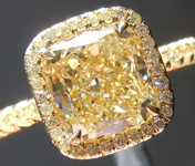 Yellow Diamond Ring: 2.02ct Fancy Light Yellow SI1 Cushion Modified Brilliant Yellow Diamond Halo R5746