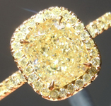 Yellow Diamond Ring: 1.54ct Fancy Light Yellow VS2 Cushion Modified Brilliant GIA Yellow Diamond Halo R5747