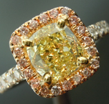 Yellow Diamond Ring: 1.41ct Fancy Yellow VS2 Cushion Modified Brilliant Diamond Halo Ring GIA R5672