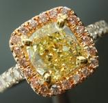 1.41ct Fancy Yellow VS2 Cushion Cut Diamond Ring R5672