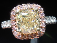 Yellow and Pink Diamond Ring: 2.01ct W-X VVS2 Cushion Cut GIA Amazing Sparkle R5759