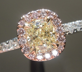 SOLD...Yellow Diamond Ring: .50ct Y-Z VVS1 Cushion Cut GIA Pink Diamond Halo Ring R5651