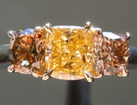 Orange Diamond Ring: .53ct Fancy Intense Orange Yellow SI1 Cushion Modified Brilliant Three Stone Diamond Ring GIA R5680