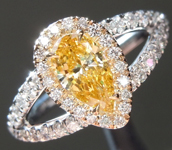 Orange Diamond Ring: .52ct Fancy Vivid Orange Yellow I1 Pear Brilliant Diamond Halo Ring GIA R5681