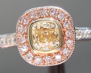 SOLD...Yellow Diamond Ring: .55ct W-X Internally Flawless Cushion Cut GIA Pink Halo R5655