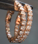 SOLD.... Pink Gold Diamond Earrings: .92cts E-F VS Round Brilliant Diamond Hoop Earrings Rose Gold R6179