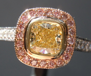 SOLD.....Yellow Diamond Ring: .66ct Fancy Light Yellow Internally Flawless Cushion Modified Brilliant Diamond Halo Ring GIA R5773