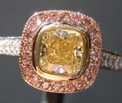 SOLD.....Yellow Diamond Ring: .66ct Fancy Light Yellow Internally Flawless Cushion Modified Brilliant Diamond Halo Ring GIA R5773