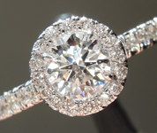 Colorless Diamond Ring: .51ct F I1 Round Brilliant Diamond Halo Ring R5613