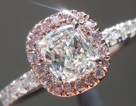SOLD...Colorless Diamond Ring: .50ct G VS1 Cushion Cut GIA Pink Diamond Halo R5695