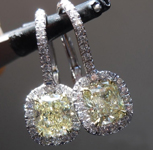SOLD.....Yellow Diamond Earrings: 1.45cts Y-Z VVS Cushion Cut Diamond Dangle Earrings GIA R5660
