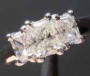 SOLD..........Colorless Diamond Ring: 1.27ctw H VS-SI2 Radiant Cut Three Stone Diamond Ring R5790