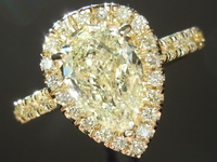 SOLD.....Yellow Diamond Ring: 1.49ct Y-Z SI2 Pear Shape Diamond Halo Ring GIA R5778