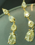 Yellow Diamond Earrings: 4.85ctw Natural Yellow Pear Shape Diamond Dangle Earrings R5487