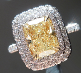 SOLD....Yellow Diamond Ring: 2.06ct U-V SI2 Cushion Cut GIA Double Halo R5800