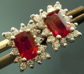 SOLD...Ruby Earrings: 1.33cts Emerald Cut Ruby and Diamond Halo Earrings R5572