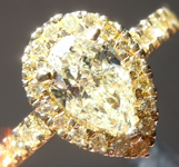 Yellow Diamond Ring: 1.03ct S-T SI2 Pear Shape Diamond Halo Ring GIA R5770