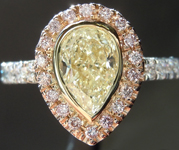 SOLD...Yellow Diamond Ring: .96ct S-T SI1 Pear Shape Diamond Halo Ring GIA R5798