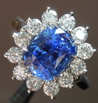 SOLD.... Sapphire and Diamond Halo RIng: 3.03ct Blue Cushion Cut Sapphire Beautiful Blue Color R5775