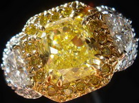 SOLD.....Halo Ring- GIA 1.52 Cushion Yellow Diamond Micro Set Ring w/half moons R1131