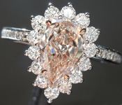 Pink Diamond Ring: 1.22ct Fancy Light Brownish Pink Pear Shape Diamond Halo Ring GIA R5826
