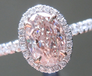 SOLD......Pink Diamond Ring: 1.03ct Light Pink Brown I1 Oval Diamond Halo Ring GIA R5823