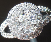 Diamond Ring: .51ct D VS2 Cushion Modified Brilliant GIA Split Shank Double Halo Ring R5817