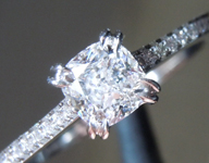 Colorless Diamond Ring: .50ct E VS1 Cushion Modified Brilliant GIA Platinum Solitaire R5818