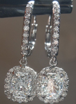 SOLD......Colorless Diamond Earrings: 1.47cts Colorless Cushion Cut Diamond Dangle Earrings GIA R5815