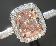 Pink Diamond Ring: 1.22ct Fancy Light Orangy Pink Internally Flawless Cushion Cut  Diamond Halo Ring GIA R5839
