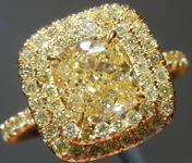 SOLD...Yellow Diamond Ring: 1.50ct Fancy Light Yellow VS1 Cushion Cut GIA Double Halo R5842