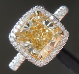 Yellow Diamond Ring: 2.18ct Y-Z VS2 Cushion Modified Brilliant Diamond Halo Ring GIA R5843
