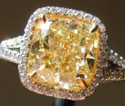 3.01ct Fancy Light Yellow SI1 Cushion Cut Diamond Ring GIA R5844