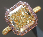 SOLD....Yellow Diamond Ring: 2.39ct W-X VS2 Radiant Cut GIA Pink Diamond Halo R5845