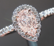 Pink Diamond Ring: .51ct Fancy Light Brownish Pink Pear Shape GIA Halo Ring R5615