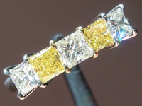 Diamond Rings: 1.16ctw E-F and Fancy Intense Yellow Princess Cut Five Stone Ring R5530