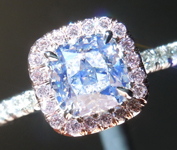 SOLD....Colorless Diamond Ring: 1.01ct E SI2 Cushion Modified Brilliant GIA Pink Diamond Halo R5852